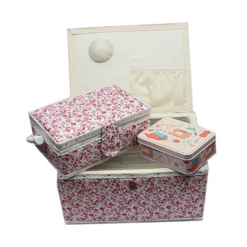 n hkorb set weis blumenmuster rosa 1x gro und 1x mittel und accessoires box mit zubeh r. Black Bedroom Furniture Sets. Home Design Ideas